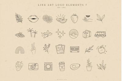 Retro Logo Elements, Illustrations, Business card, Icons