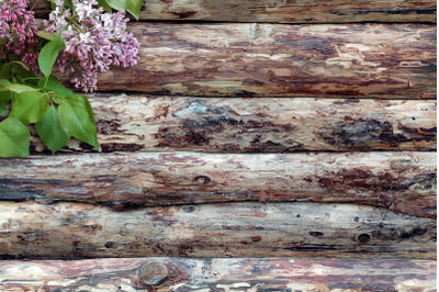 Lilacs on a wooden background.