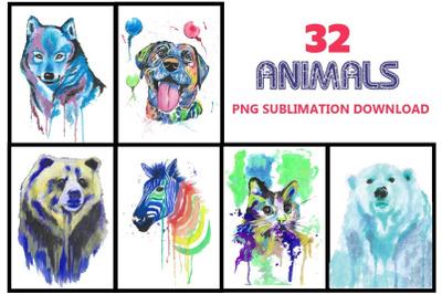 Animals sublimation, Dog, cat, zebra, bear, fox
