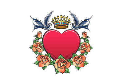 Heart with Crown swallows and rose Wreath Tattoo