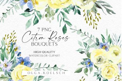 Yellow roses watercolor clip art, Boho roses clipart, Yellow flower pn