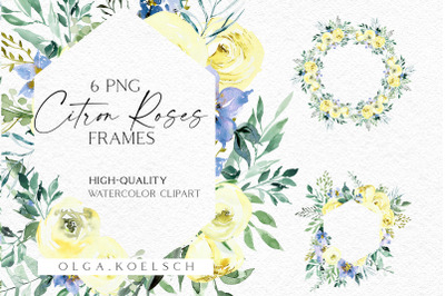 Yellow roses watercolor clip art, Boho roses frames clip art
