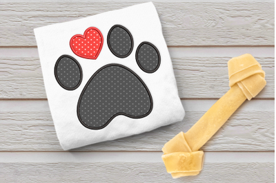 Dog Paw with Heart Toe   Applique Embroidery