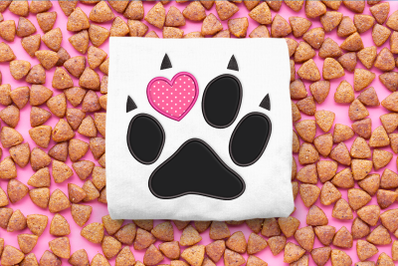 Cat Paw with Heart Toe   Applique Embroidery