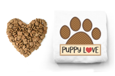 Puppy Love Dog Paw   Applique Embroidery