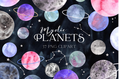Space Planet Clipart. Watercolor planets and zodiac constellation