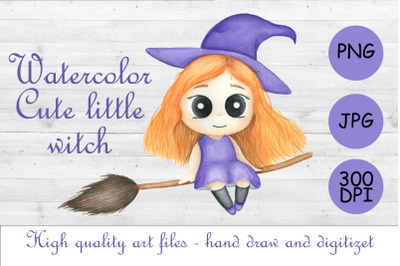Watercolor cute girl.Little witch.Halloween sublimation