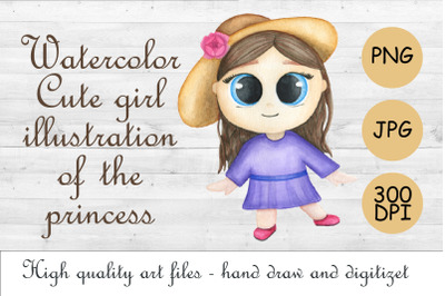 Watercolor cute girl.Little princess.Baby sublimation