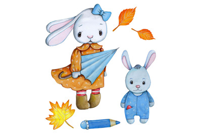 Autumn Hares. Watercolor illustrations.