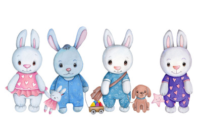 Four cute cartoon bunny rabbits. Watercolor.
