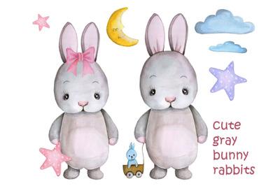 Cute gray bunny rabbits. Watercolor.