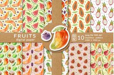 Fruits digital paper, seamless pattern. Packaging design