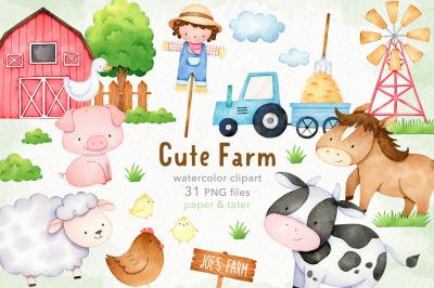 Watercolor Cute Farm Animals Clipart, Farm Baby Nursery PNG