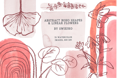 Boho clipart, abstract doodles