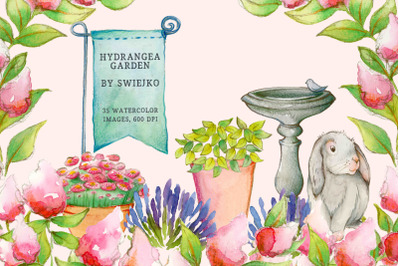 Digital Clip Art, Watercolor Flowers, Floral Clip Art, Hydrangeas, Hyd
