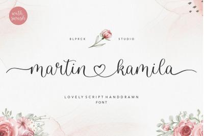 martin kamila lovely script handdrawn font