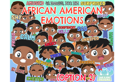 African American Kids Emotions (Option 2) Clipart