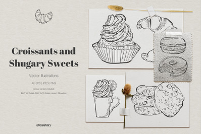 Croissants and Shugary Sweets Vector Illustrations
