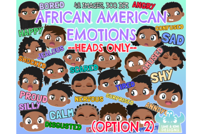 African American Kids Emotions - Faces (Option 2) Clipart