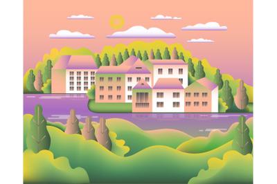 Landscape village, hills, trees, river, lake, forest. Rural valley Far