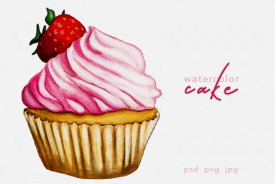 Hand drawn watercolor cake