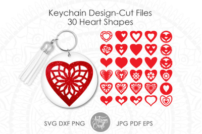 Keychain designs, Heart shapes, SVG PNG