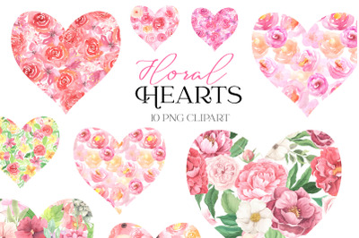 Pink Floral Clipart. Watercolor hearts with rose flowers