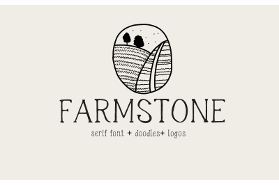 Farmstone Rustic serif font. Doodles LOGOS