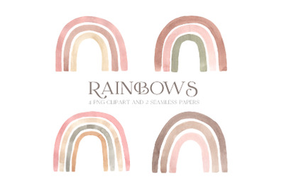 Watercolor Pink Pastel Rainbow Clipart