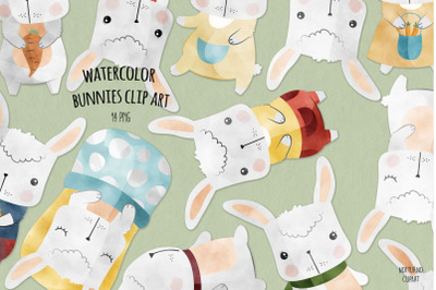 Watercolor Bunny Clipart   Set of 14