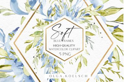 Watercolor boho roses frames clipart, Dusty blue florals clip art,