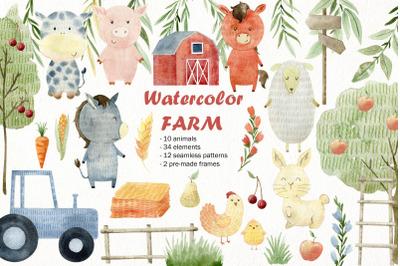Watercolor farm animals. Kit.