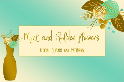 Mint and Golden Floral clip art and patterns collection.