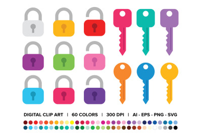 Lock & Key Clip Art Set