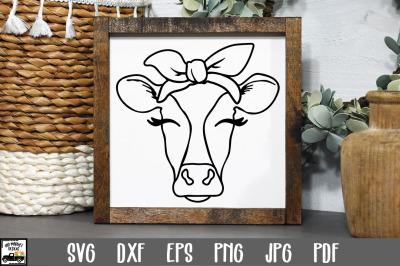 Cow SVG File - Cow with Bandana SVG Cut File