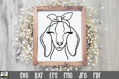 Goat SVG File - Nubian Goat with Bandana SVG Cut File