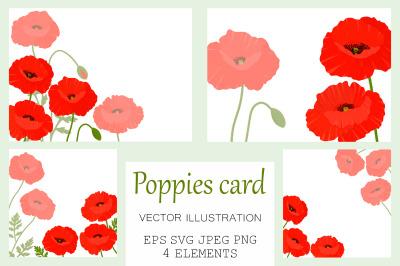Poppies card. Poppies greeting. Poppies SVG.Poppy invitation
