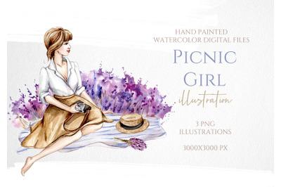 Picnic Girl with Lavander Illustration