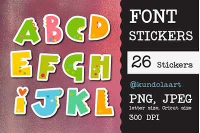Monogram stickers Childrens letters PNG