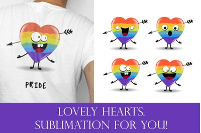Hearts sublimation, Rainbow sublimation