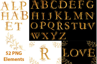 Gold alphabet clipart and golden twigs.