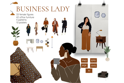 business collection, female boss, abstract clipart, muslim svg, black