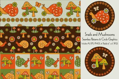 Snail & Mushroom Patterns & Graphics