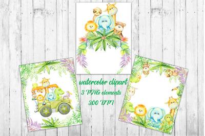 Tropical watercolors, animals, Greenery Woodland Baby Shower Invitatio
