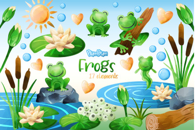 Frogs Watercolor Cliparts