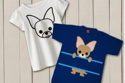 Peeking Chihuahua Split | SVG | PNG | DXF | EPS