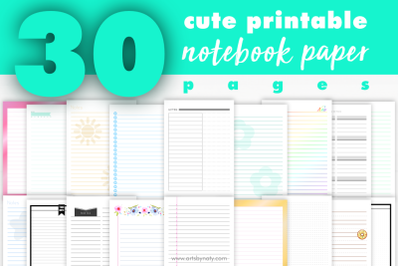 30 Cute printable notebook paper pages.