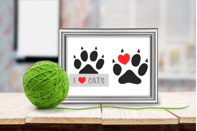 Paw Print Kitty Love Duo | SVG | PNG | DXF | EPS