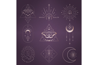 Divine Beauty Pre-Made Logo Designs. Moon, stars, sunbursts, butterfly