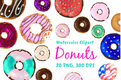 Watercolor Doughnuts Graphics Donut Bakery Clipart Png